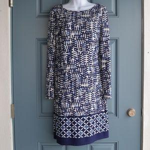 Blue Abstract Print Tunic Dress by Jones New York